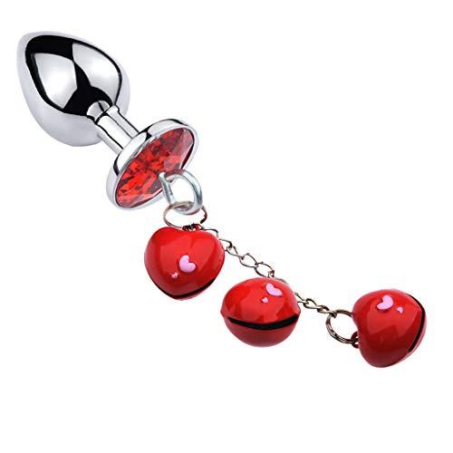 Xcbbncler Stainless Steel Metal Stopper Heart-Shaped Bells Pendant Rhinestone Plated Faux Crystal Base Amal Plug Pṙosṫaṫe Massager Ǵ Ѕṗọṫ B'ut.t Pùg Dilatation Beaded Training Sxx Toys