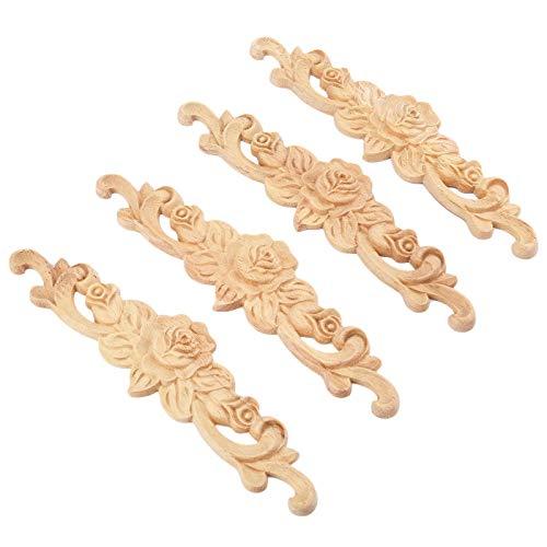 4pcs 20x5cm Wood Carved Long Onlay Applique Unpainted Rose Flower Door Home Decor European Style