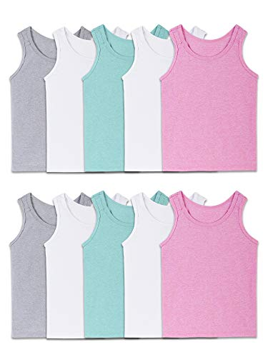 Fruit of the Loom Girls' Undershirts (Camis & Tanks), Toddler Tank - 10 Pack - Assorted, 4T/5T