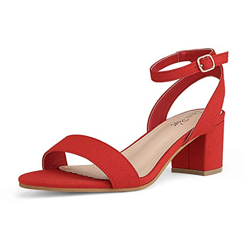 DREAM PAIRS Women's Red Suede Open Toe Ankle Strap Low Block...