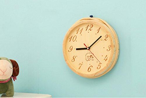 Horloge Murale En Bois Sans Visage Personnalité Horloge Murale Creative Mode Décoratif Horloge Murale Chambre Salon Precision Mouvement Silent Bell 20 * 20 Cm,Natural