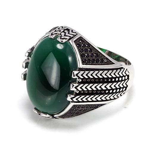 Hydz Anillos de Plata esterlina 925 Puros Reales con Piedra de ónix Negro Anillos turcos Grandes para Hombres Joyas de Pavo Vintage Retro, Verde, 8