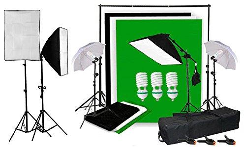 BPS Greenscreen Hintergrund Set mit Lampem und Reflexschirm
