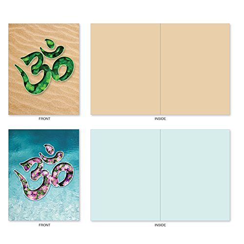The Best Card Company - 10 Zen Blank Greeting Cards Assorted (4 x 5.12 Inch) - OM Blooms M3971 Photo #2