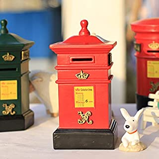 GeekGoodies Post Box Mail Letter Antique Decorative Showpiece with Money Piggy Coin Bank- Red