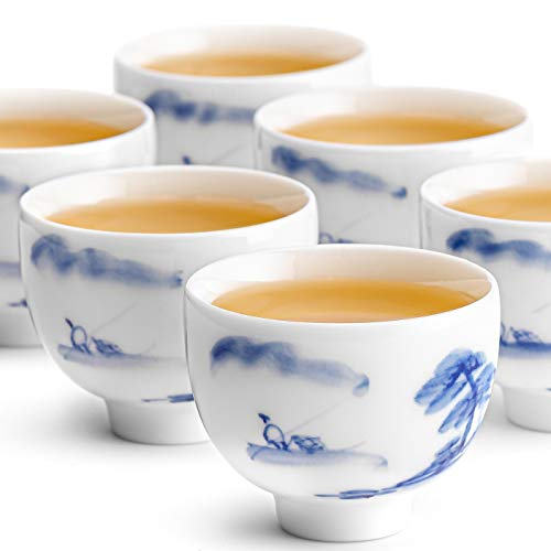 Chinees Thee Kop Porselein Set - 6 Theekopjes Uit China In Dun Porselein - Thee Kopjes - Engelse Theekopjes 100 ml