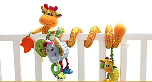 Iwinna Baby Pram Toys Spiral Activity Hanging Toys Stroller Toy Car Seat Bed Hanging Toys with Ringing Bell for 0-6 Months Baby, Boys, Girls (Colour 5)