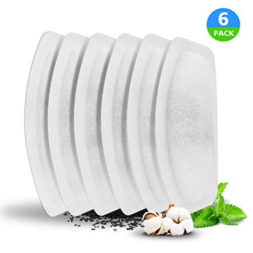 WOPET Replacement Filters for Pet Fountain - 6 Packs Carbon Technology Filters Dog and Cat Automatic Water Dispenser