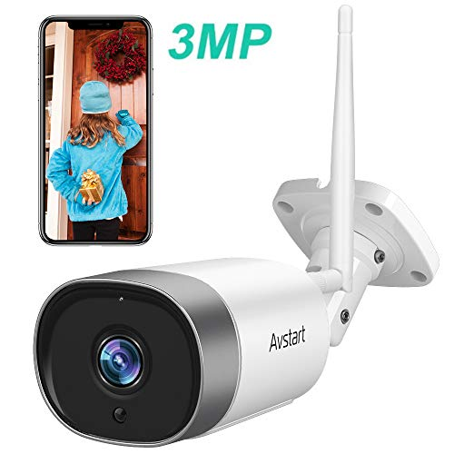 Wireless Security Camera Outdoor, 3MP WiFi Home Surveillance Bullet Camera with Night Vision, IP66 Waterproof, AI Motion Detection, Instant Alert, 2-Way Audio, Encrypted Cloud, Alexa Compatible Bullet Cameras