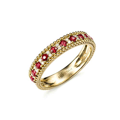 AmDxD 18K Yellow Gold Ring, Ruby 0.564CT Band Ring Anniversary Band Women Ring Valentine Day Size H 1/2, Birthday for Women Mom Wife with Gift Box