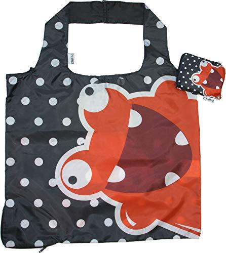 Chilino Freak Faltbare Mehrwegtasche/Umweltfreundlich/Hohe Tragkraft und Fassungsvermögen, rot, schwarz, 47 x 41 cm