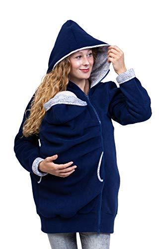 Viva la Mama - Trageweste Tragehoodie warm Fleecetragejacke Winter Mamajacke - AHOI Marineblau Ranken - M