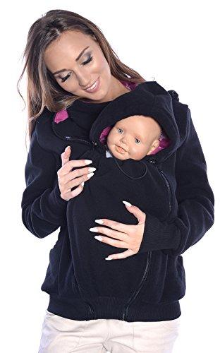 Mija 3in1 Sudadera con Capucha Caliente de Lana Polar de Maternidad/Suéter para Dos/para portadores de bebé 4047 (EU36 / S, Negro)