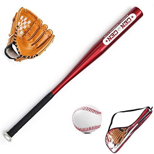 WHITNEY Kinder Baseball Set 24inch Baseballschläger Und 9 Zoll Standard Baseball Und 10,5 Zoll Baseballhandschuh,BrownGlove+RedBat