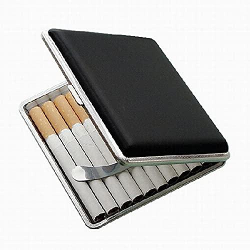 FXBH Pitilleras de Cuero Portátil de Moda a Prueba de Polvo a Prueba de Humedad Caja de Cigarrillos de Acero Inoxidable se Puede Usar para Decoración Puede Contener 20 Cigarrillos