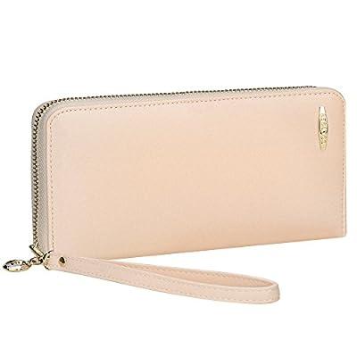 Credit Card Wallet, COCASES RFID Blocking PU Leather Zipper Wristlet Women Wallet Wrist Strap