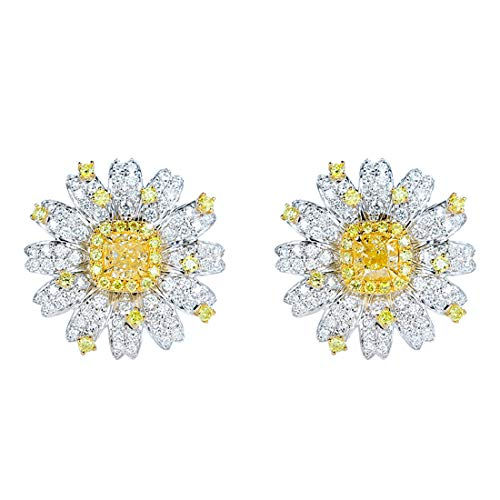 18K White Gold Yellow Diamond Stud Earrings|Daisy Diamond Earrings |Fine Jewelry| Customized Jewelry for Women