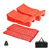 Homeon Wheels Camper Leveler, Camper Leveling Blocks Work for Camper Include 2Curved Levelers, 2Chocks with Built-in Handle,2Grip Mats,1Level and Bag, Levelers for RV-Up to 30,000 LBS,2-Pack, Red
