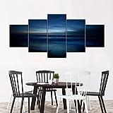 ARIE So Crazy Art 5 Paneles De Pintura De Pared Moody Océano Azul HD Cuadro Estilo Abstractos Moderna Inicio Decoración Lienzos Regalos Creativos para Navidad