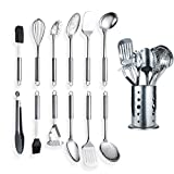 Berglander Cooking Utensil Set 13 Piece Stainless Steel Kitchen Tool Set with Holder, Include Cooking Spoon, Spatula, Whisk, Cooking Tong and etc. (13 Pieces)