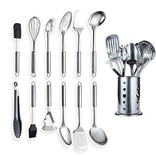 Berglander Edelstahl Küchengerät 12 Stück mit 1 Ständer, Kochlöffel, Küchenutensilien Kochgerät mit Halter. (13 Stücke)