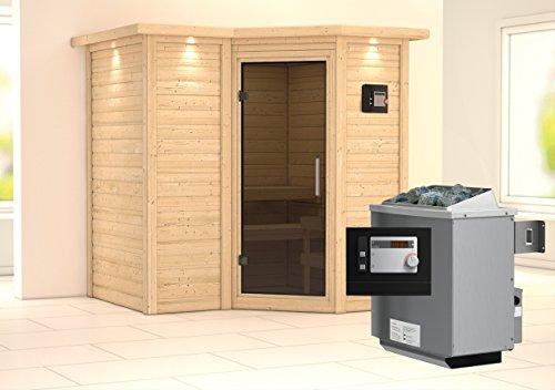 Preisvergleich Produktbild Karibu Sauna Sahib 1 inkl. 9-kW-Ofen mit externer Steuerung,  mit Dachkranz,  mit moderner Saunatür
