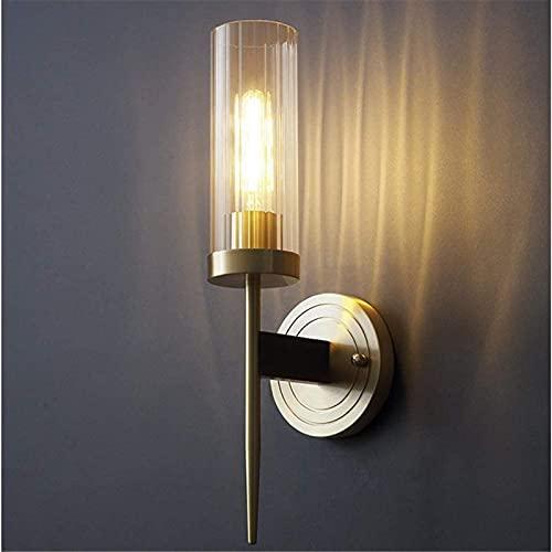 Luz de pared Pantalla de vidrio Lámpara de pared Cuerpo de lámpara de cobre completo Estilo moderno Decorativo E27 Dormitorio de aluminio Sala de estar Lámpara de noche Decoración del hogar LED