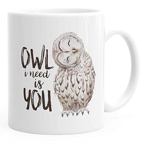 MoonWorks Kaffee-Tasse Eule Owl I Need is You Liebe Spruch Geschenk Valentinstag Weihnachten Ehe Partnerschaft weiß Unisize