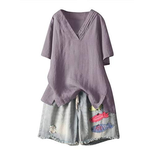 Tosonse Camiseta Mujer Tops Deportes Gimnasio Blusa Lino Tanques Camisas Manga Corta...
