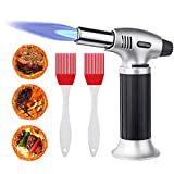 flintronic Kitchen Torch Butane Kitchen Torch Lighter Gas Torch Kitchen Adjustable Flame Safety Lock with 2 Brushes, for Creme Brulee, Baking, Barbecue, DIY, Soldering
