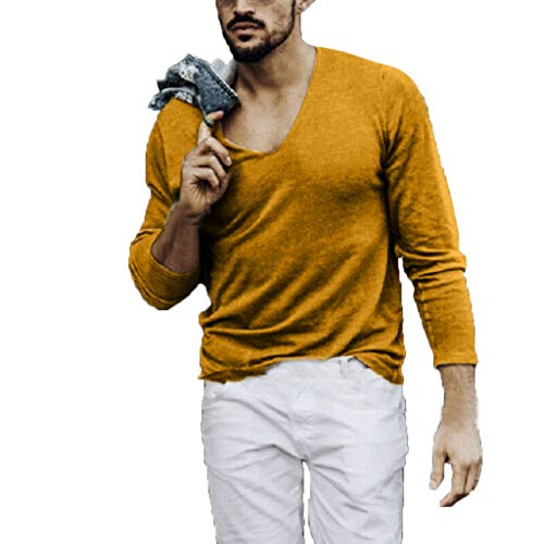 Men's Slim Fit Long Sleeve Muscle Pure Color T-Shirt Blouse Tee Tops HebeTop Yellow