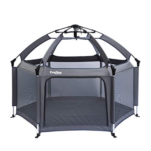 Baby Playpen - Exqline Pop-n-Play Kids Safety Playpen[2019 Updated New Version] with Playpen Mattresses, Foldable and Compact Kids Play Pen with UV Canopy Ideal for at Home, Traveling, Park Beach Grey