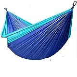 AIOFOGXC Muebles de paracaídas hamacas portátil Hamaca Doble Persona Nylon Camping Hamaca Supervivencia jardín Colgando Silla de Dormir (Color : Light Blue and Navy)