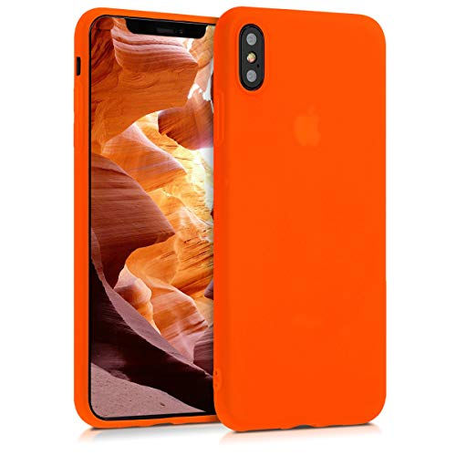 kwmobile TPU Case Compatible with Apple iPhone Xs Max - Case Soft Thin Slim Smooth Flexible Phone Cover - Neon Orange