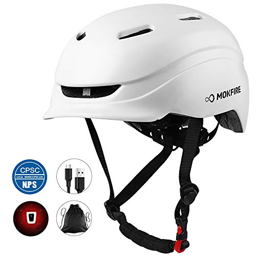 MOKFIRE Bike Helmet for Adults Men Women with Rechargeable USB Light review