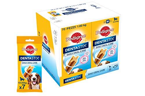 Pedigree Dentastix Snack per la Igiene Orale (Cane Medio 10-25 kg) 180 g 7 Pezzi - 7 Confezioni da 10 Pezzi (70 Pezzi totali)