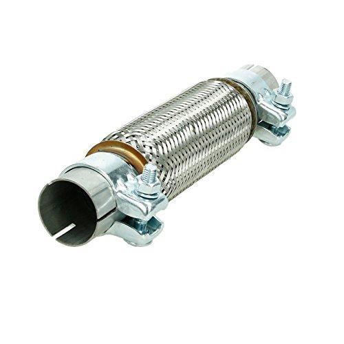 ECD Germany Universal Flexrohr mit 2 Schellen 45 x 200 mm - aus Edelstahl - Interlock - Montage ohne Schweißen - Flexibles Rohr - Flexstück Wellrohr Hosenrohr Auspuff