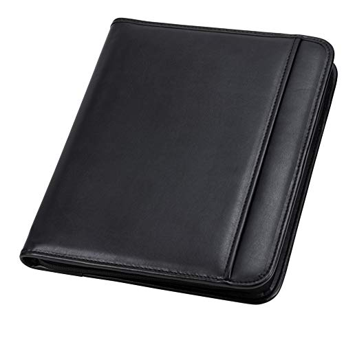 Samsill Professional Resume Padfolio with Secure Zippered Closure, 10.5 x 13 inches, Sleeve for 10.1 inch tablet, 8.5 x 11 Notepad, Black