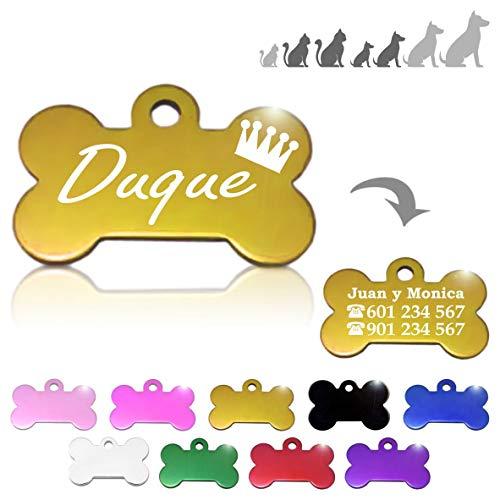 Hueso para Mascotas pequeñas-Medianas con Corona Placa Chapa Medalla de identificación Personalizada para Collar Perro Gato Mascota grabada (Dorado)