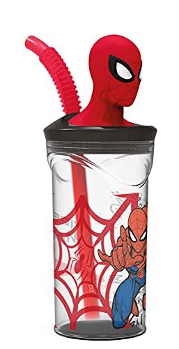 P:os 32919 - Vaso para niños con pajita y tapa, transparente, incluye figura 3D en diseño de Spiderman, aprox. 360 ml, sin BPA ni ftalatos