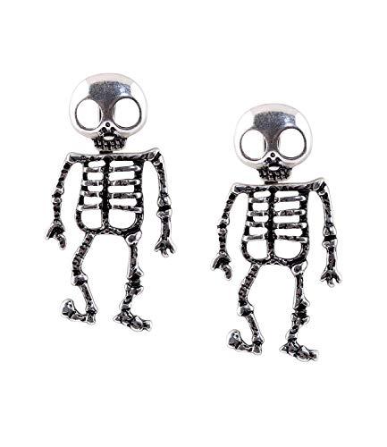 SIX Ohrringe für Halloween und Karnevalsparties, der Totenkopf als Stecker der Skelettkörper ist beweglich, Fasching, Kostüm, Verkleidung (781-398)