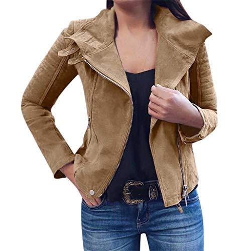 Damen Retro Rivet Zipper Up Bomberjacke Freizeit Mantel Outwear Hingpy
