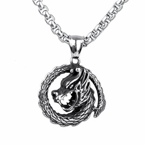 COPAUL de acero inoxidable dragón para hombre-remolque con cadena, collar, Plata