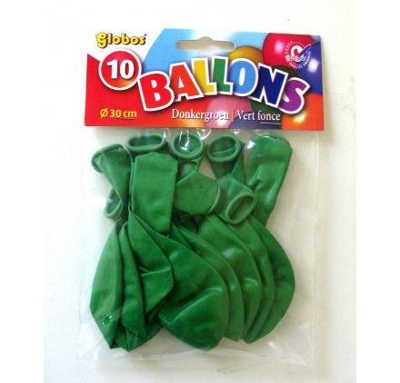 Lot de 10 ballons 'Globos 'Vert Foncé