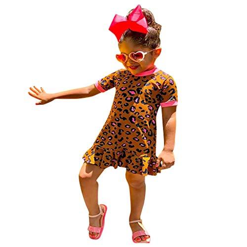 Janly Clearance Sale Vestidos para niñas de 0 a 5 años, para bebés y niñas con estampado de leopardo, vestido de princesa, ropa casual para 12 a 18 meses (marrón)