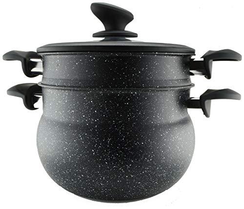 Ramadan24 Edelstahldampfer Couscous Couscous Topf Dampfkocher Glasdeckel Oriental