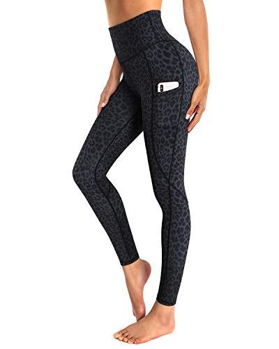 OUGES Damen Sport Leggings High Waist Leggins Yogahose Blickdichte Sporthose mit Taschen (Grauer Leopard,XXL)