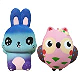 2 Pack Squishy Toys, Animal Slow Rising Squishies Owl/Rabbit, Super Soft Sweet Scented Kawaii Squeeze Toys for Kids Adults
