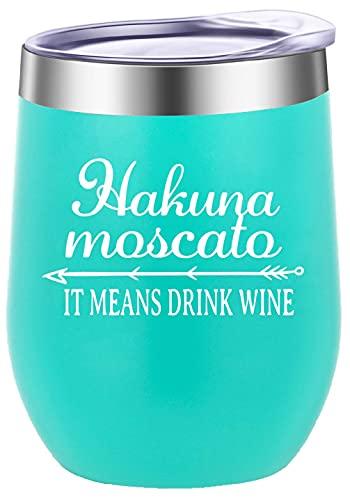 GINDU Hakuna Moscato Significa Beber Vino Divertido sin Tallo Vino Copa de Vidrio Regalos de cumpleaños para Las Mujeres de Oro Rosa (Color : Mint Green)