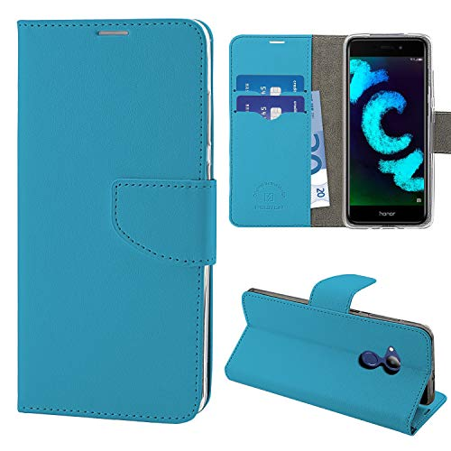 N NEWTOP Cover Compatibile per Huawei Honor 6C PRO, HQ Lateral Custodia Libro Flip Chiusura Magnetica Portafoglio Simil Pelle Stand (Azzurra)